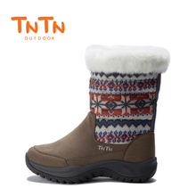 TNTN outdoor winter new warm waterproof leather non-slip down jacket snow boots