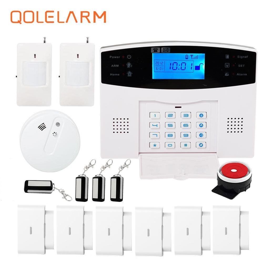 Wireless quad band GSM alarm system English/Russian/French/Spanish voice autodial intelligent anti-theft home alarm system kit 1 pair stand alone gsm magnetic door open alarm car windows anti thief support russian english black color