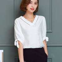 Casual Women Shirts 2018 Plus Size S 4XL 5XL Blouse Tops Streetwear summer bow short sleeve shirt v neck spell lace girl shirts