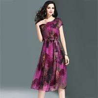 100% Silk Elegant Ladies Dress 2018 Summer High Quality O Neck Printed Dress Casual Fashion Slim Party Dress WF077