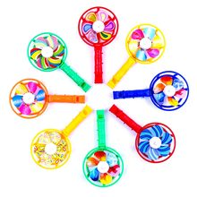 Cute Baby Kids Windmill Toy Colorful Small Windmills Toy Children Plastic Windmill Whistling Handle Toys Pinwheel Wind Spinner(China)