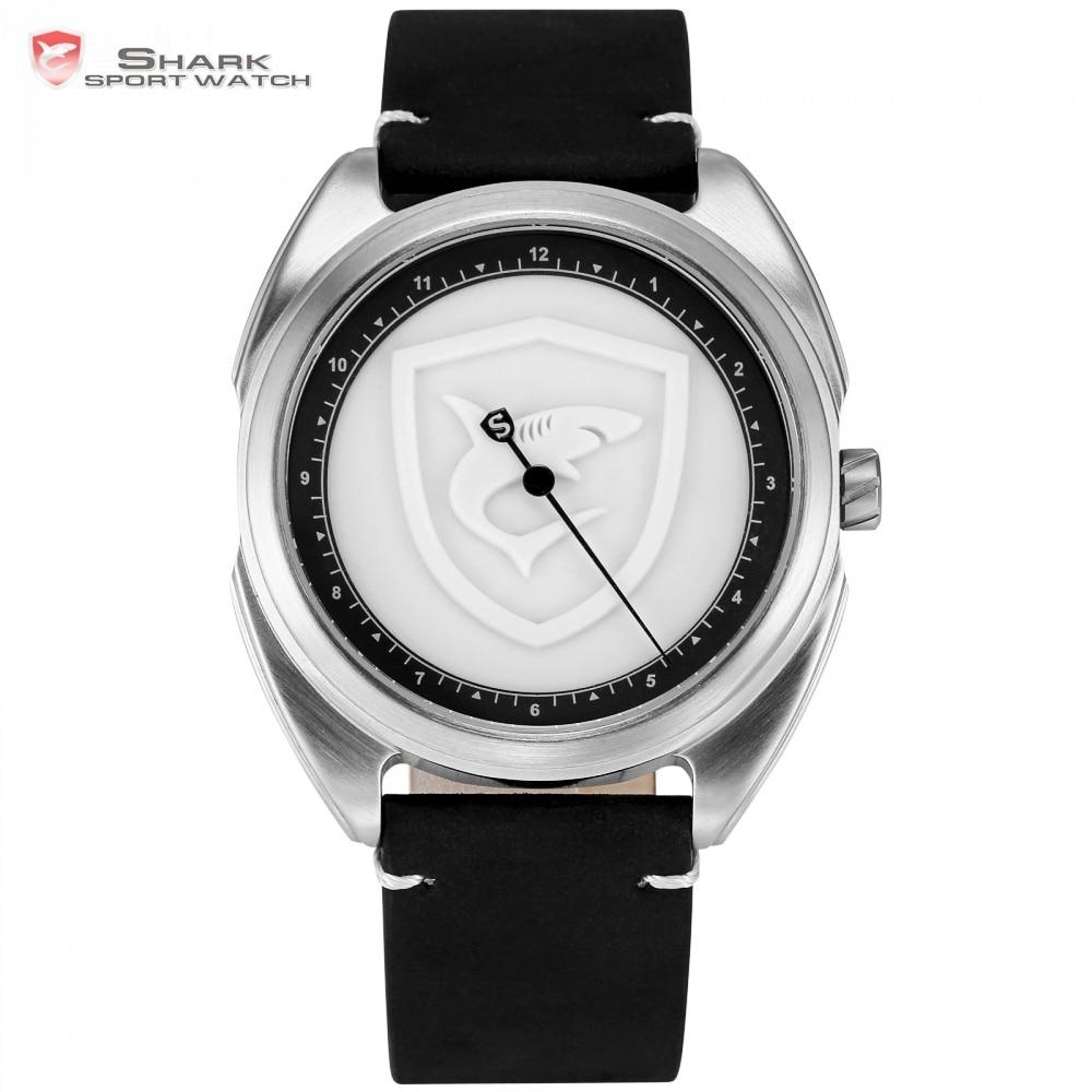 Воротником ковер акула спортивные часы 3D белый логотип один простой часовая стрелка Дизайн кожаный ремешок Кварцевые Для мужчин часы Reloj ...