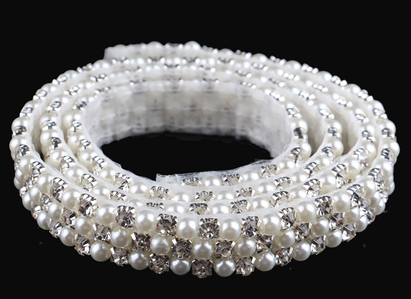 1yard luxurious crystal pearl beaded rhinestone trim for Pearl arts and crafts closing