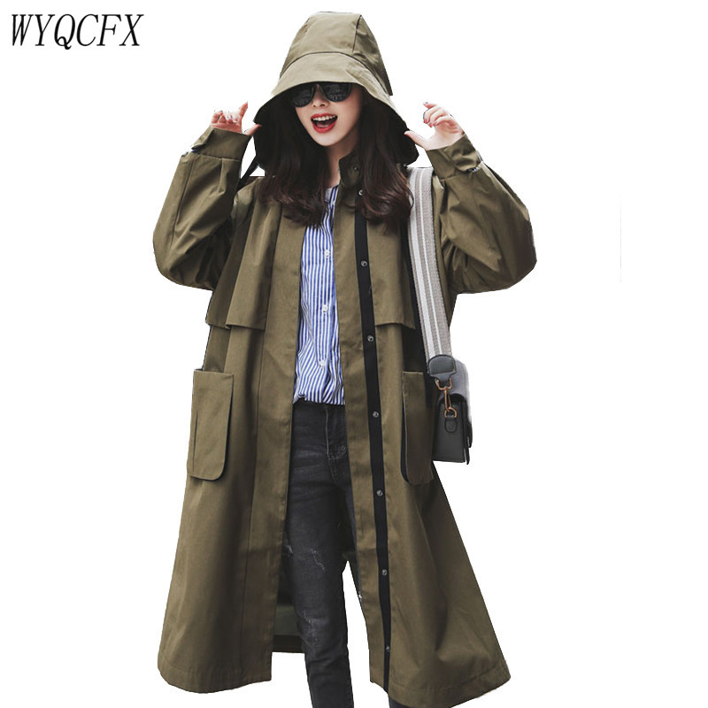 2019 New Spring Autumn Windbreaker Coats Women Korean Loose Long   Trench   Hooded Coat Chic Female Single-breasted Outerwear A060