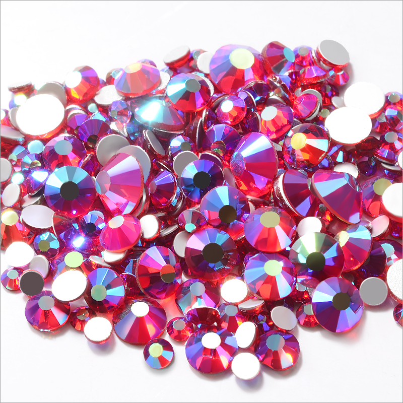SIAM AB Mixed Sizes 3D Glass Nail Art Rhinestone Flatback Crystal Strass Nails Stones DIY Jewelry Garment Accessories SS6-SS20 10pcs gold 3d rudder metal flower pearl music note mixed rhinestones cross nail art decoration jewelry nails supplies y180 187