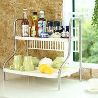 2 Tier Plate Dish Bowl Cutlery Cup Rack With Tray Stainless Steel Drainboard Design Kitchen Spice Storage Rack Organizer DQ1001