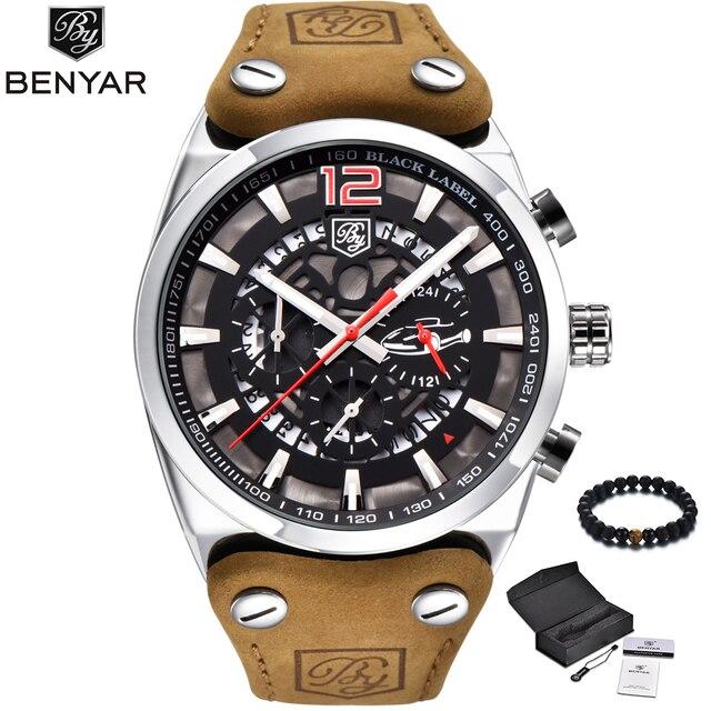 28d6dd207cb BENYAR Fashion Mens Watches Luxury Brand Military Sport Watch Men Quartz  Waterproof Leather Band Wrist Watch