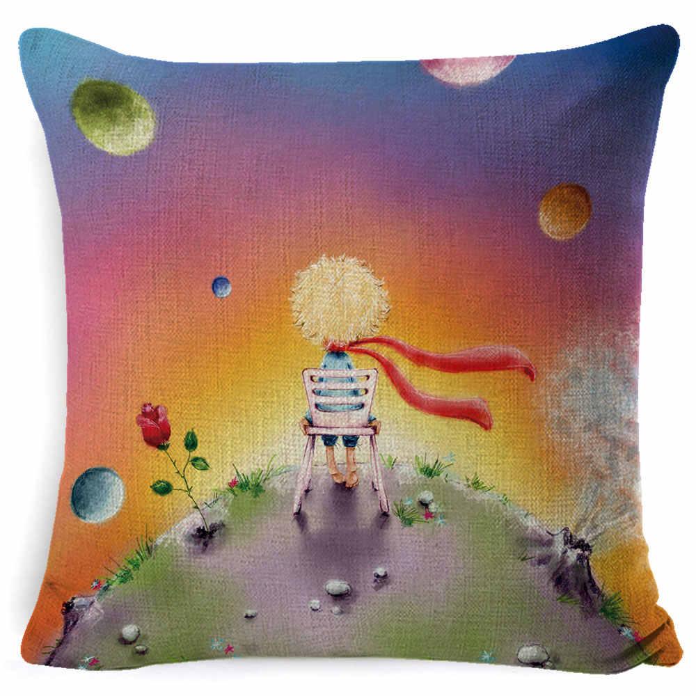 Funda de cojín con estampado de animal Fokusent para habitación de niños, decoración de cuento de hadas, Pequeño Príncipe, sofá, funda de almohada