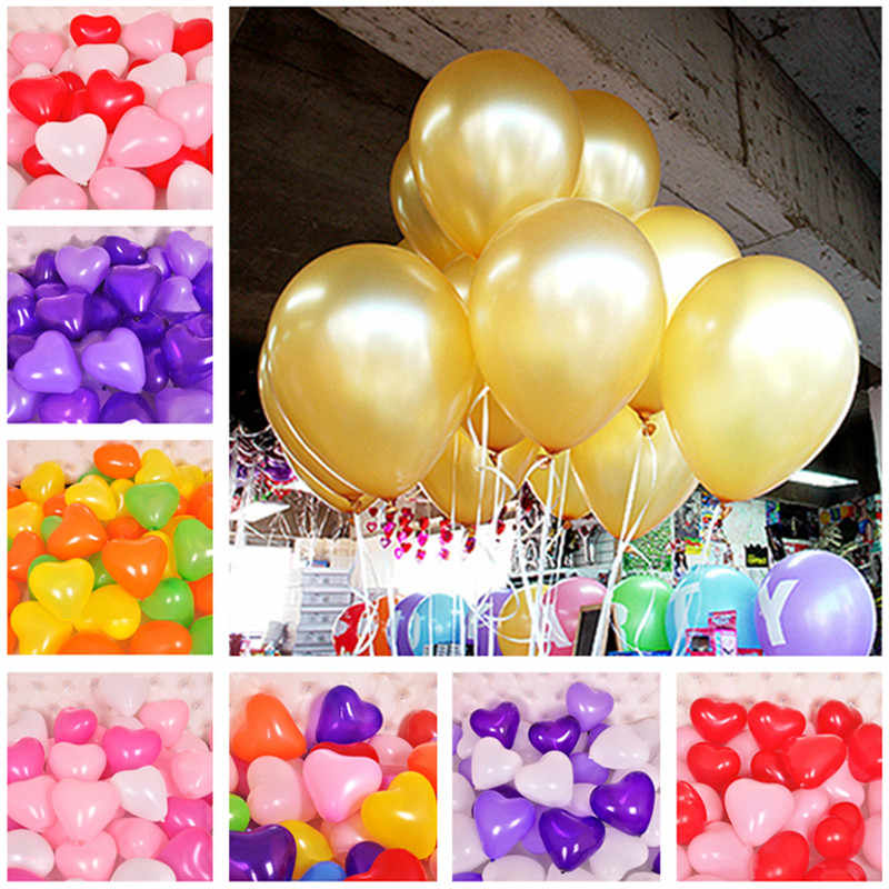 10pcs 12inch 2.2g Gold Heart Latex Balloon Wedding Accessories Decorations Happy Birthday Ballon Baby Shower Inflatable Air Ball