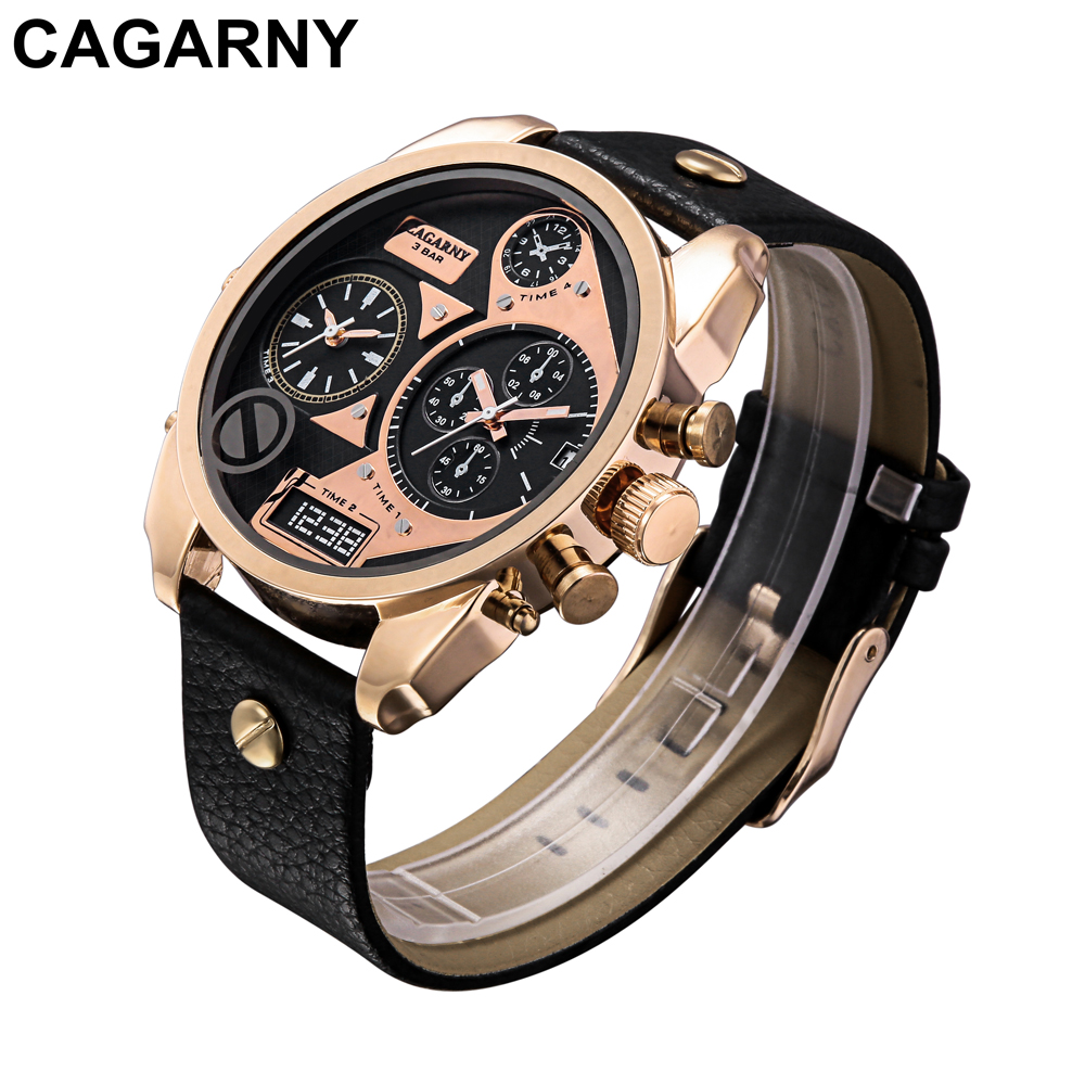 mens military watches army rose gold case black leather strap sports watches dual time zones large dial male clock for brave men free shipping (10)