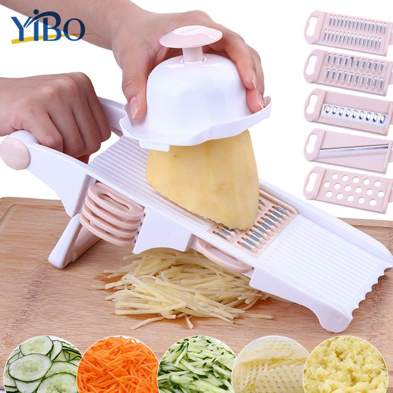 YIBO Kitchen Mandoline Slicer Vegetable Cutter with Stainless Steel Blade Potato Grater Cheese Dicer Carrot Onion Shredders Tool