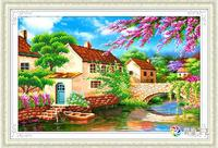 5d Diy Diamond Painting Ancient Water Towns Cross Stitch Round Rhinestone Diamond Mosaic Picture Home Decoration