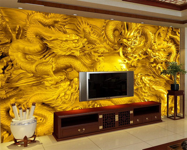Beibehang Custom Wallpaper Stone Carving Dragon Wall Painting TV ...