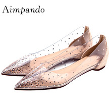 df63bc699f Buy transparent rhinestone flat shoes and get free shipping on ...