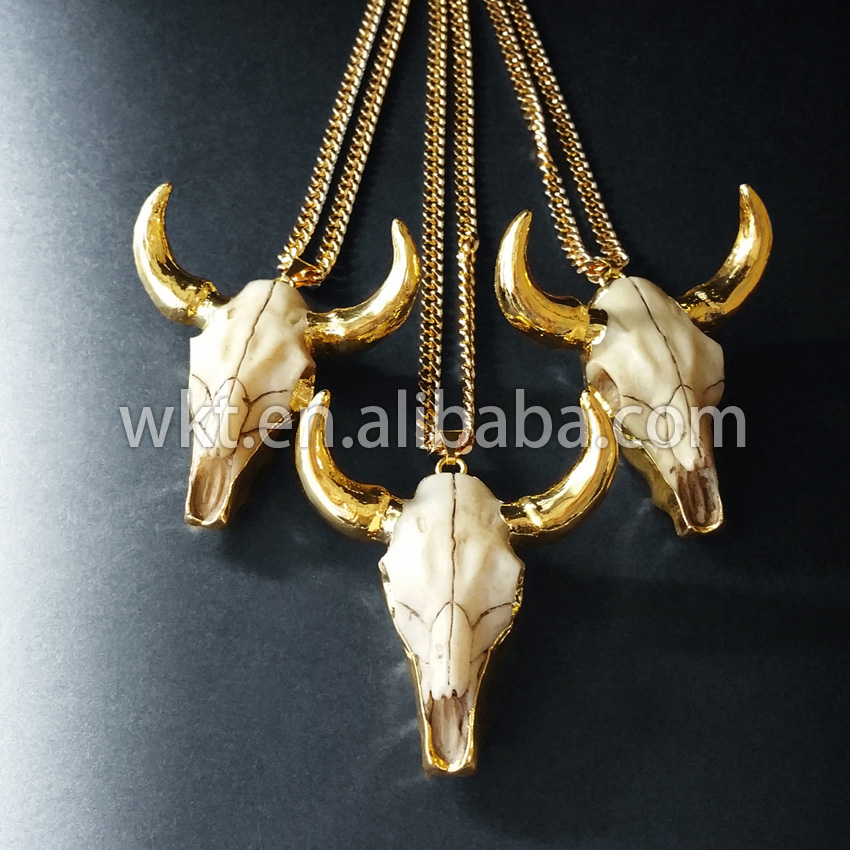 New! Unique resin cattle horn necklace in 24k best gold plated,Bull Cattle Resin Horn Cattle Necklace,Resin Animal Head Cattle