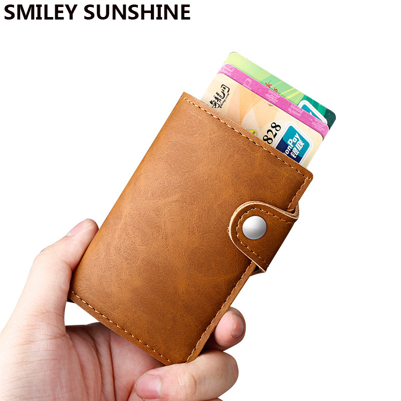 SMILEY SUNSHINE 2018 Men And Women Business Credit Card Holder Box Rfid Wallet Safe Aluminum Antimagnetic Purse ID Card Case for