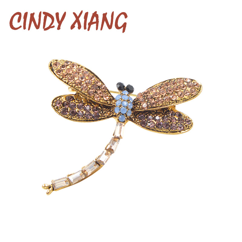 CINDY XIANG 2017 New Rhinestone Dragonfly Brooches Unisex Insect Brooch Pin Vintage Broches Fashion Dress Coat Decoration Gift
