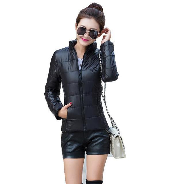 Mulheres jaqueta de inverno Outono gola da longo-luva curto parágrafo fino e leve jaqueta casaco feminino grandes estaleiros mulheres
