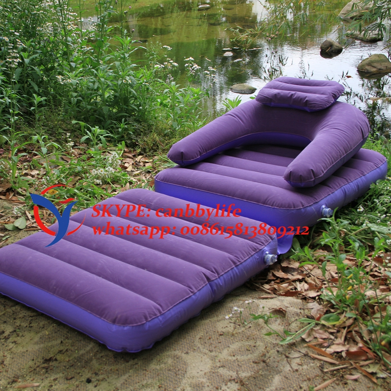 Blue single inflatable folding lounge chair dual purpose for Chaise longue pliante camping