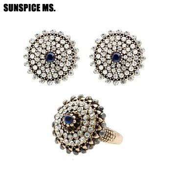 Pendientes étnicos redondos de diamantes de imitación, conjuntos de joyería de anillo de Color oro antiguo, joyería de boda india, diseño de marca turca al por mayor