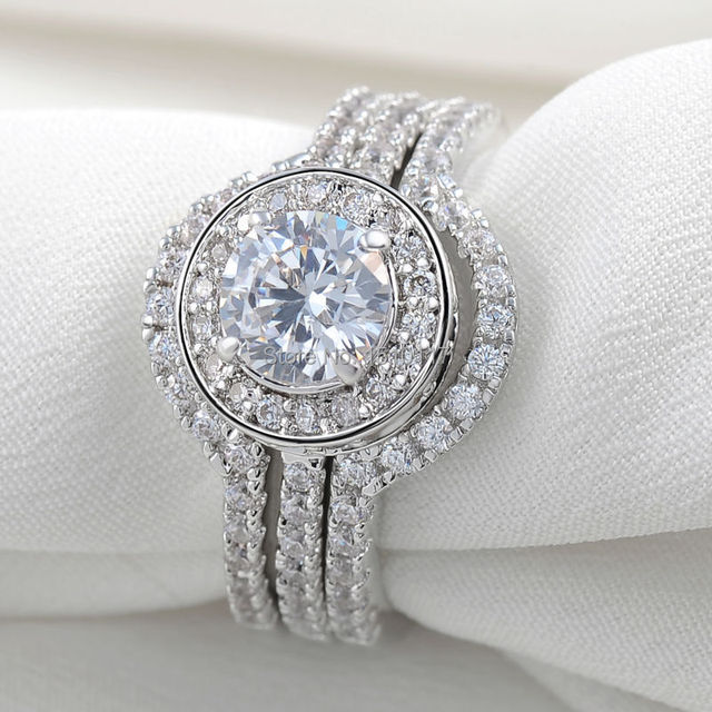 2 Ct Solid 925 Sterling Silver Triple Wedding Ring Sets Aaa Cz Fashionable Classical Jewelry For