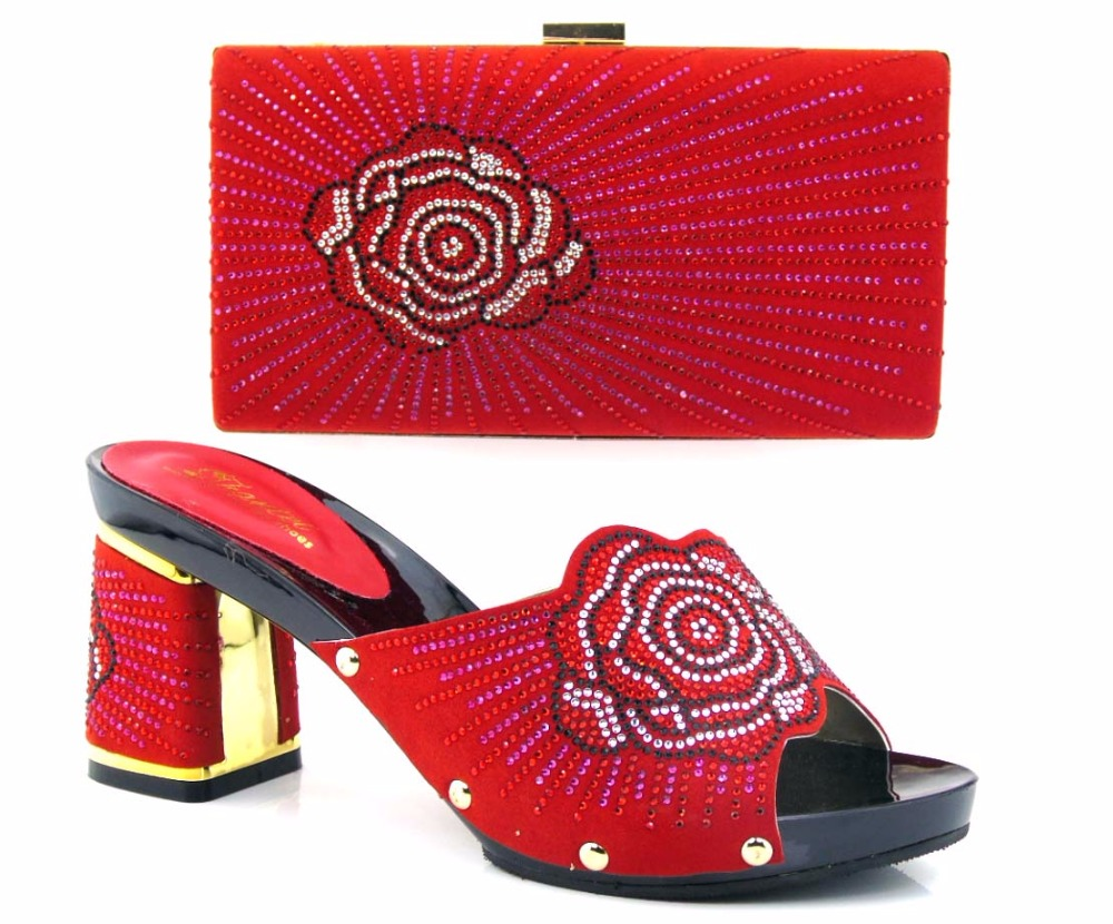 ФОТО TH16-31 Red Italian Shoes With Matching Bags For Party,High Quality African Shoes And Bags Set for Wedding Dress