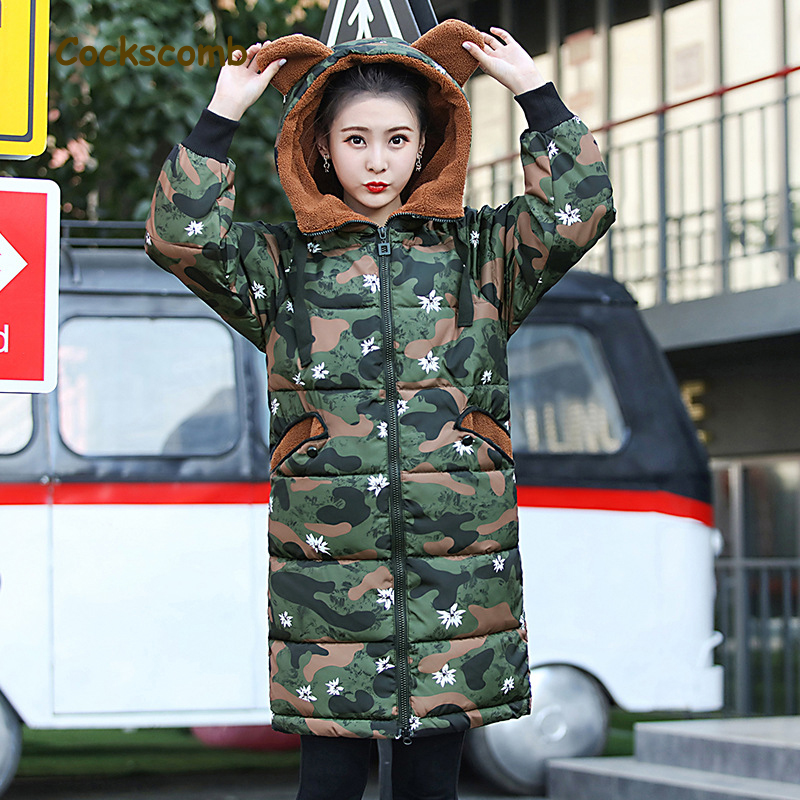 Cockscomb Camouflage Army Style Winter Parkas Women Lovely Hooded Cotton Wadded Coat Outerwear Woman 2018 New Autumn Jackets