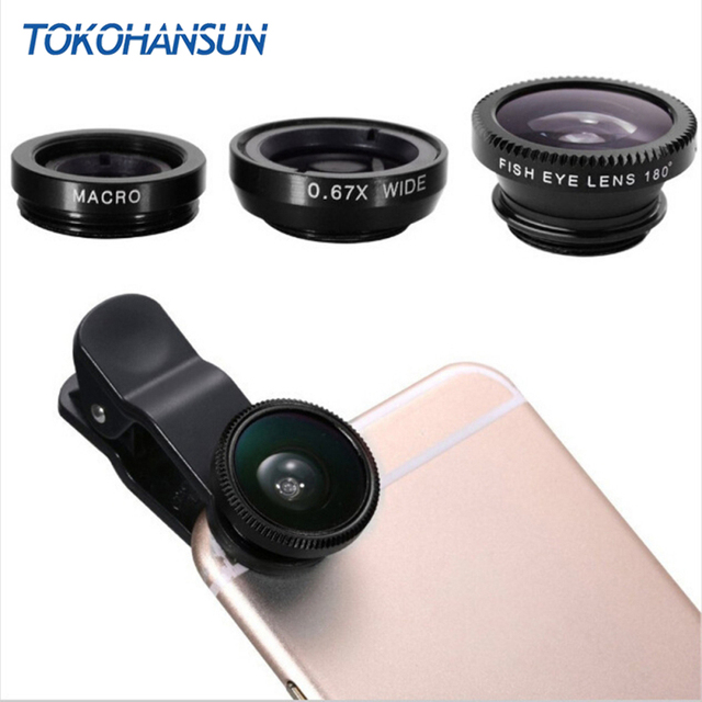 Universal Fish Eye 3 in 1 Smartphone Camera Lens Wide Angle Macro Mobile Phone Lens For iPhone 7 6 5 4 8 Plus Xiaomi Huawei