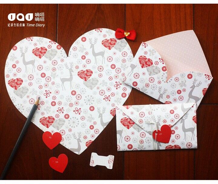 4 Pcs Bentuk Hati Pink Surat Kertas Amplop Kartu Ucapan