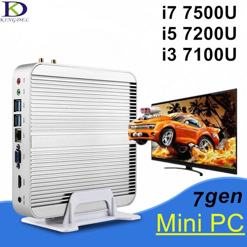 Kingdel Core I3 7100U I5 7200U I7 7500U Fanless Desktop Computer Windows10 Mini PC Max 16G RAM 512G SSD Free 300M WiFi 1.5M HDMI