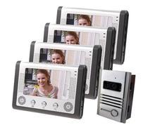 Envío de dhl Sistema de Entrada de Intercomunicación Apartamento 7 Pulgadas TFT LCD Monitor de Vídeo Cámara de La Puerta 4 Cables de Video Teléfono de La Puerta