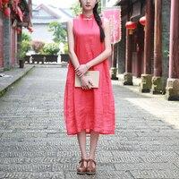 2016 New Summer Sundress For Women Sleeveless Vest Beach Dress Ramie Tank Dress Casual Chinese Style