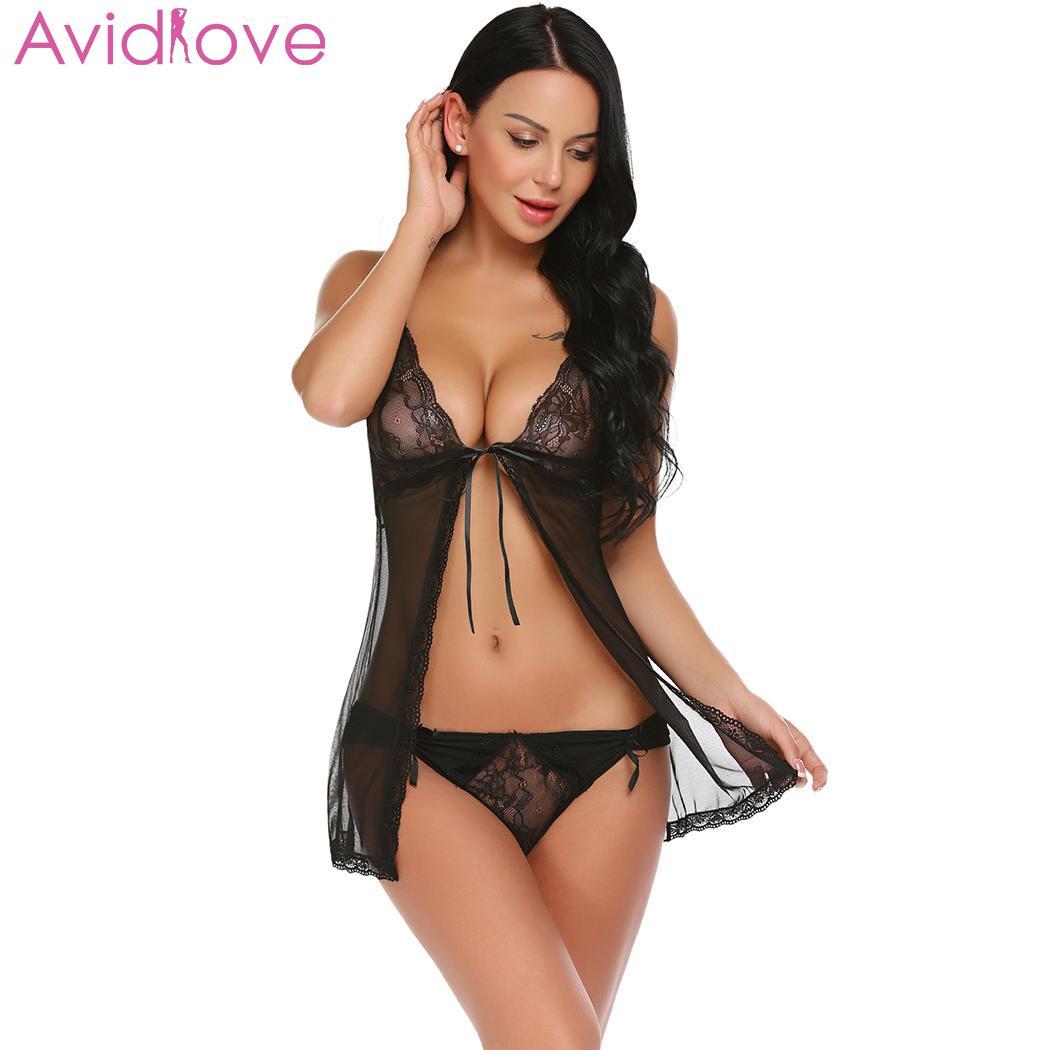 4c76a7cc1de3 Lencería Sexy de Avidlove, ropa de dormir erótica, Tanga frontal  transparente, ropa de dormir para mujer - a.iamsika.me
