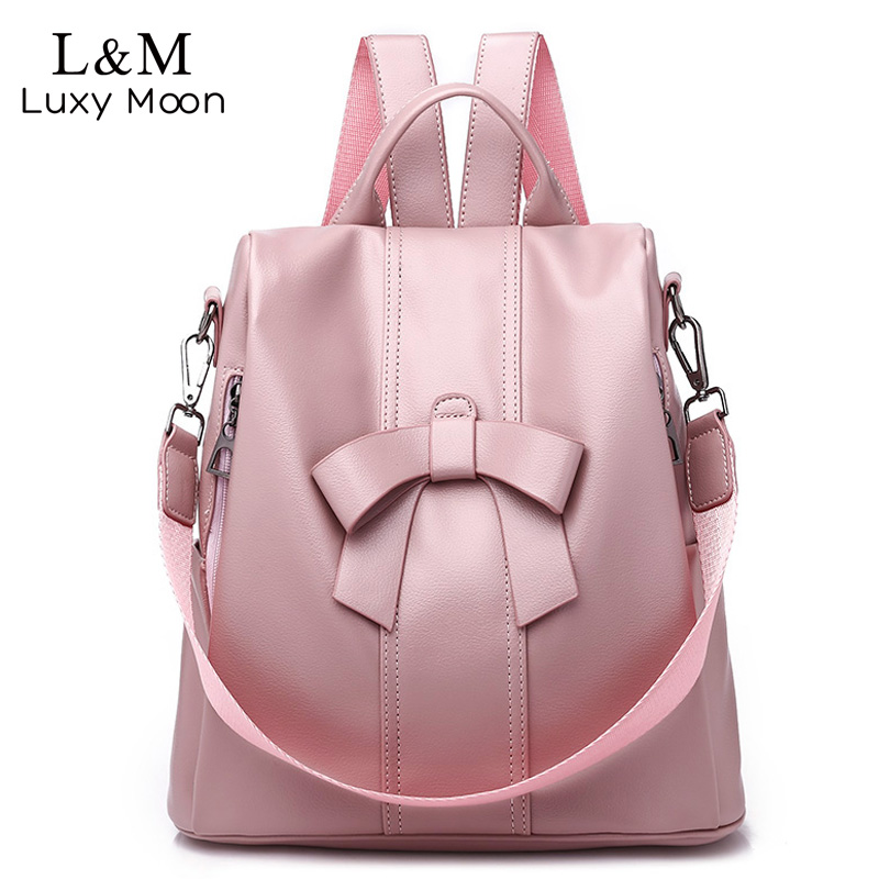 aa68b0d6e5 Women Backpack Soft Leather Bow Pink School Backpacks For Teenager Girls  Casual Large Shoulder Bag Female Travel Mochila XA488H-in Backpacks from  Luggage ...