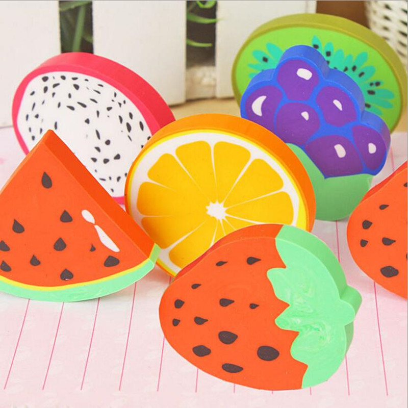 1pc/lot Sweet Fruit Slice Shape Eraser Watermelon Grape Kiwi Fruit Erasers Kawaii Stationery Student Gift Office School Supply
