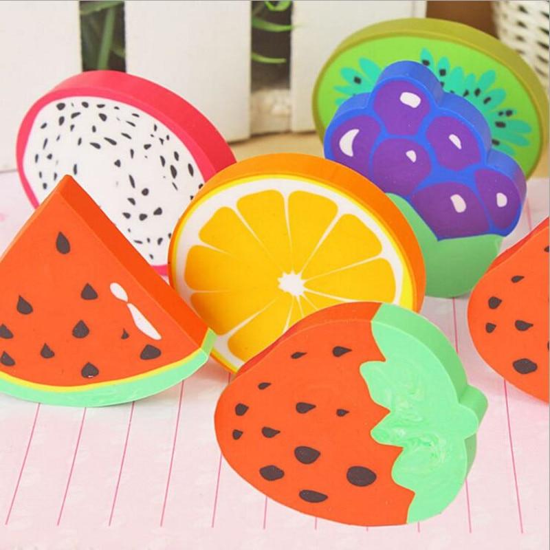 1pc/lot Sweet Fruit Slice Shape Eraser Watermelon Grape Kiwi Fruit Erasers Kawaii Stationery Student Gift Office School Supply