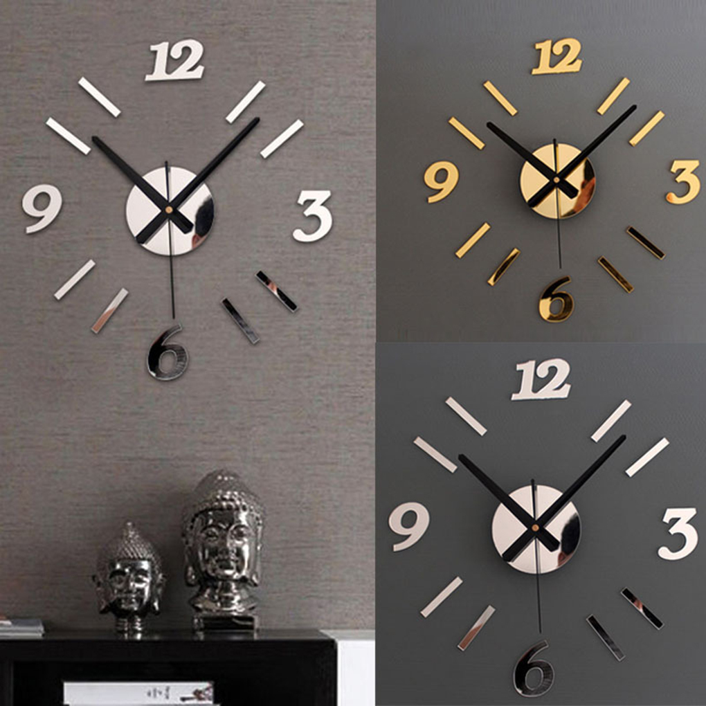 Simple Style Red/Black DIY Numbers Wall Clock Acrylic ...