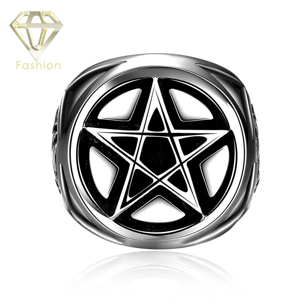 Thumb Ring Unique Punk Style Star Celebrity Movie Magic 316L Stainless Steel Finger Rings for Men,Black Titanium Male Jewelry