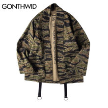 GONTHWID Japanese Camo Kimono Japan Style Mens Hip Hop Camouflage Casual Open Stitch