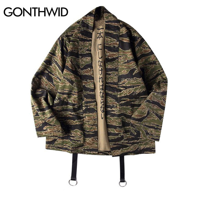 c6049a736f2 GONTHWID Japanese Camo Kimono Jackets Japan Style Mens Hip Hop Camouflage  Casual Open Stitch Coats Fashion