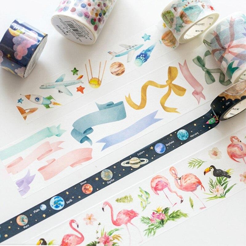 Lucky Flamingo Washi Tape DIY Decorative Masking Sticky Adhesive Tape For Scrapbooking & Phone Decoration