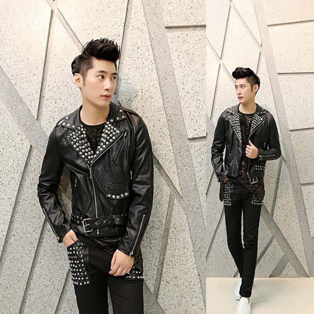 new 2017 men rivet jacket Korean Slim nightclub personality tide leather costumes hairstylist black punk leather jacket