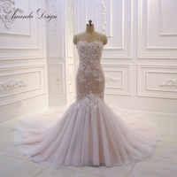 Amanda Design Spaghetti Straps Lace Applique Beading Mermaid Wedding Dress