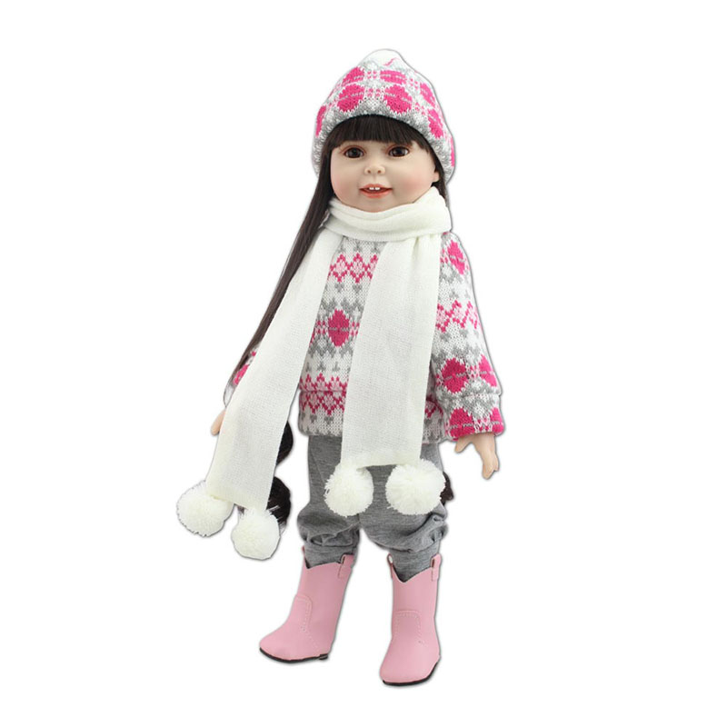 18 inch American Girl Doll Handmade Silicone Reborn Baby Dolls Lifelike Girls Toddler Dolls Kids Toy for Children Girls Gift short curl hair lifelike reborn toddler dolls with 20inch baby doll clothes hot welcome lifelike baby dolls for children as gift