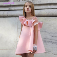 Girls Dress Brand Pink Summer Beach Style Floral Print Party Backless Dresses For Girls Vintage Toddler