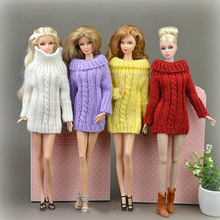 Pure Manual Doll Accessories Knitted Handmade Sweater Tops Coat Dress Clothes For Barbie Doll Gifts For