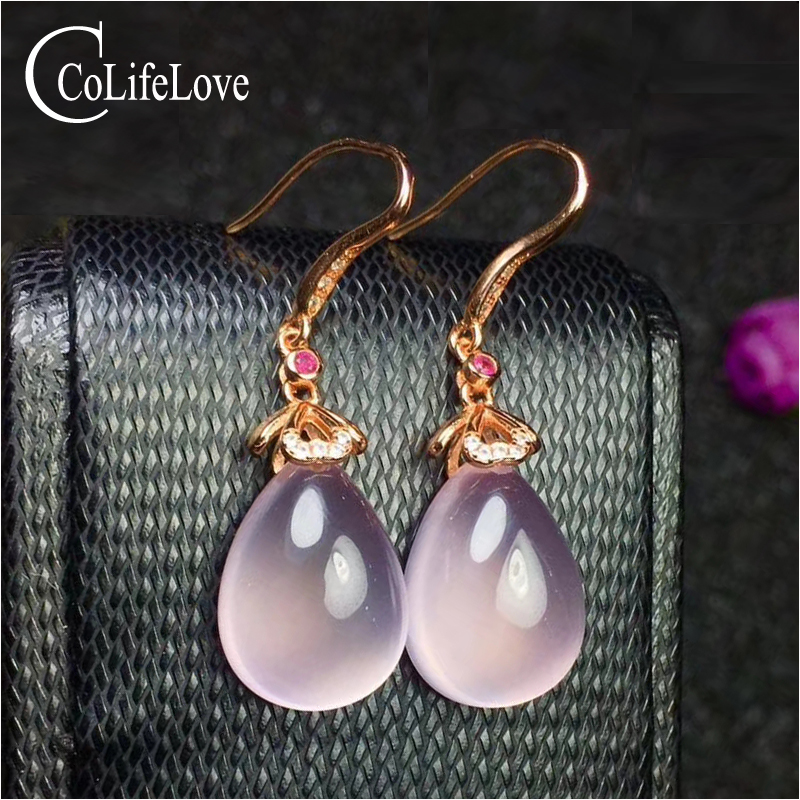 Elegant rose quartz drop earrings for party 13 mm*18 mm pear cut rose quartz silver earrings solid 925 sterling gemstone jewelry pair of elegant rhinestone hollowed rose drop earrings for women