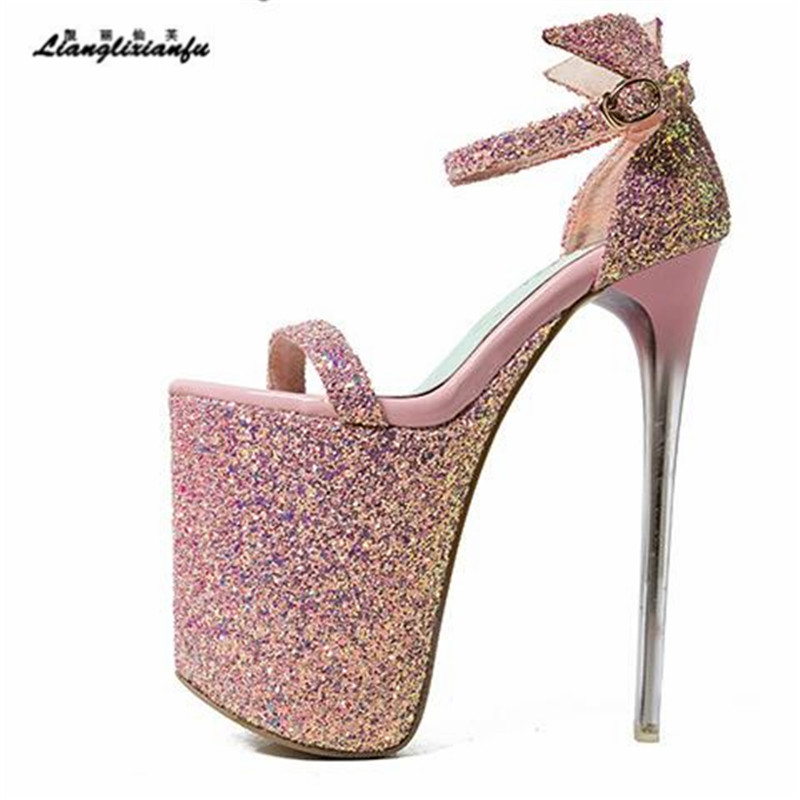 LLXF Summer zapatos Plus:34-41 42 43 Stiletto Fashion Women 20cm Ultra High Thin Heel Sandals Sexy Sequins Shoes Party Pumps llxf summer sandals plus 34 41 42 43 crossdresser sexy 19 20cm transparent high heeled shoes woman stiletto ankle strap pumps