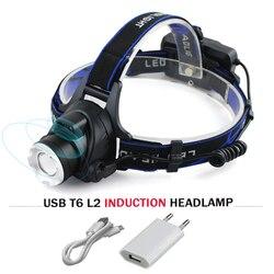 Sensor usb led farol cree xm l t6 xm-l2 à prova dwaterproof água zoom cabeça da lâmpada 18650 bateria recarregável lanterna tocha