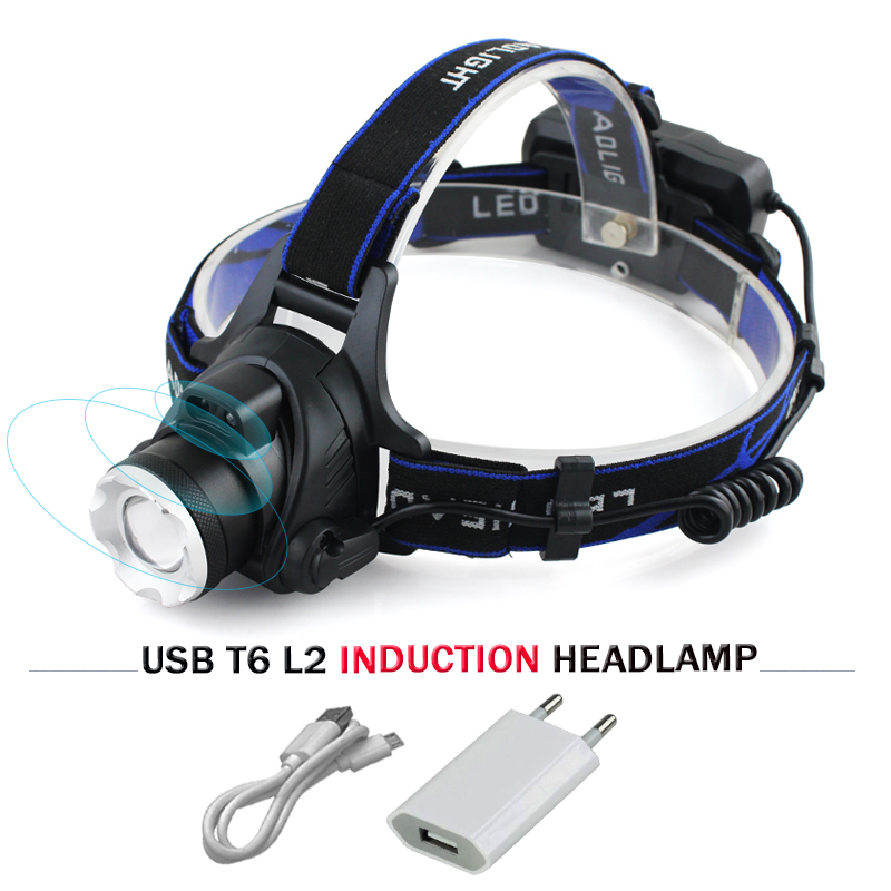 цена на usb sensor led headlight cree headlamp xm l t6 xm-l2 waterproof zoom head lamp 18650 rechargeable battery flashlight head torch